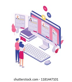 Pair of tiny people standing in front of giant computer screen and looking through job applications isolated on white background. Concept of personnel recruitment. Isometric vector illustration.