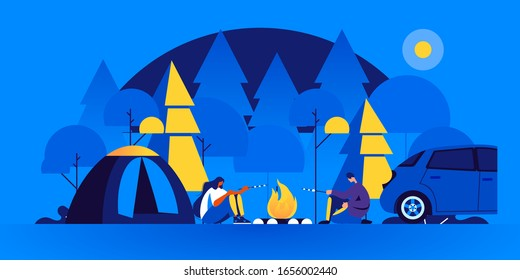 Pair of tourists sitting near bonfire and cooking marshmallow in camping at night. Man and woman at forest campsite or campground with tents and campfire. Modern flat cartoon vector illustration.