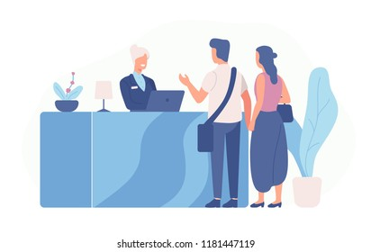 Pair of tourists or travellers standing at reception desk and talking to receptionist. Scene with guests at hotel lobby isolated on white background. Colored vector illustration in flat cartoon style.
