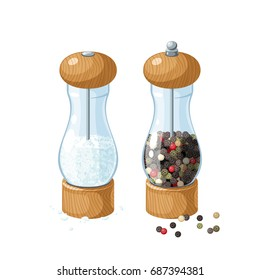 Pair transparent glass mill with wooden bottom and cap, filled with pepper corns, filled with salt, and pepper peas. Vector illustration cartoon flat icon, isolated on white.
