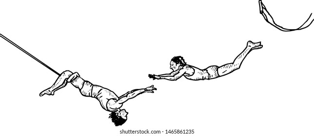 A pair of trapeze artists flying through the air. Hand drawn vector illustration.