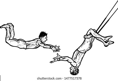 A pair of trapeze artists swinging through the air. Hand drawn vector illustration.