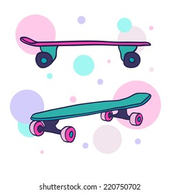 A pair of two colorful hand drawn skateboards on abstract background. Vector illustration.