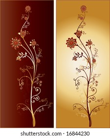 A Pair of Two Tall Ornate Intricate Flowers