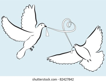 A pair of vector wedding doves with a ribbon in beak