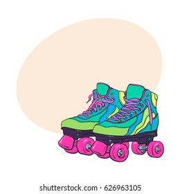 Pair of vintage, retro quad roller skates, sketch style, hand drawn illustration with space for text. Realistic hand drawn, sketch style pair of colorful quad roller skates with pink laces