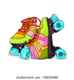 Pair of vintage, retro quad roller skates, hand drawn vector illustration isolated on white background, sketch style