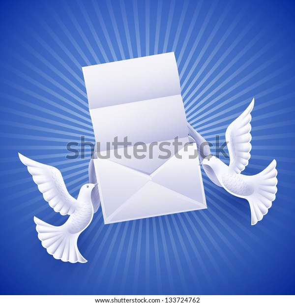 Pair of white doves holding an envelope with a letter