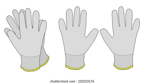 Pair of white fabric working gloves. Color vector illustration isolated on white
