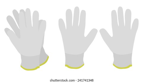 Pair of white fabric working gloves. Color no outline clip art vector illustration isolated on white