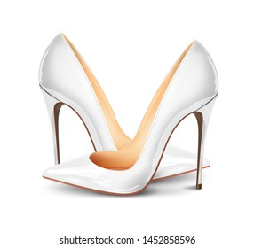 Pair of white female pumps on a white background, sexy shoes, wedding day, classic. High-heeled shoes, white patent leather shoes. 3D effect. Vector illustration. EPS10