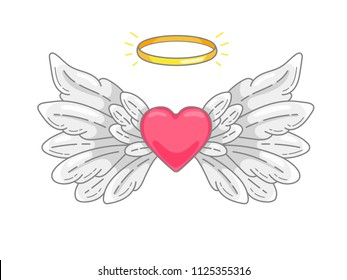 A pair of wide spread angel wings with golden halo or nimbus and red heart in the middle. Grey and white feathers. Love and Valentine day symbol. Vector illustration isolated on white.