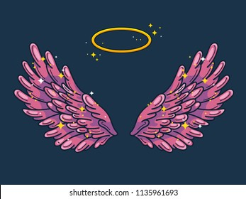 A pair of wide spread angel wings with golden halo or nimbus. Pink and violet feathers with sparkling stars on dark background. Magic fantasy concept. Vector illustration.