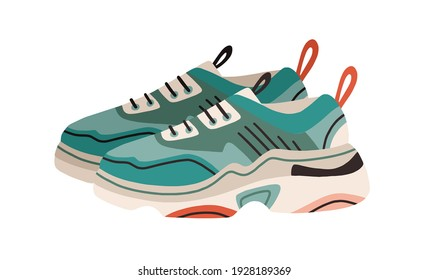 Pair of women's fashion ugly sneakers with big clunky sole. Side view of modern and trendy sports footwear. Colored flat vector illustration of stylish footgear isolated on white background