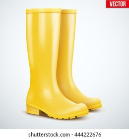 Pair of yellow rubber rain boots. Symbol of autumn and wet weather. Vector illustration Isolated on white background.