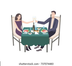 Pair of young man and woman dressed in formal clothes sitting at table decorated by tablecloth and candles and clinking champagne glasses. Couple at candlelight dinner. Cartoon vector illustration