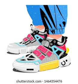 Pairs of woman man female male girl boy sneakers. Modern fashion sneakers shoes with legs. For ui, tshirt, card, poster, and more. Hand drawn vector trendy illustration. Flat design.