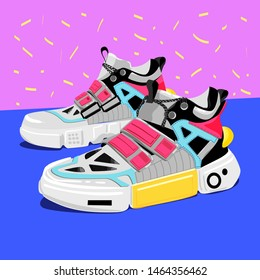 Pairs of woman man female male girl boy sneakers. Modern fashion sneakers shoes in white yellow black red colors. For ui, tshirt design, and more. Hand drawn vector trendy illustration. Flat design