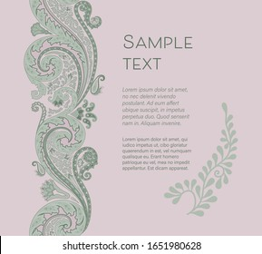 paisley background template with seamless pattern border, decorative layout for invitation, card design, label, flyer, brochure, poster, cover design, web and advertising. floral stylized ornaments.