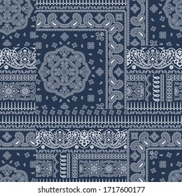 Paisley bandana fabric patchwork abstract vector seamless pattern