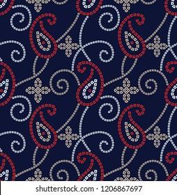 paisley bandanna pattern on navy