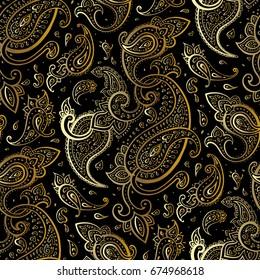Paisley Beautiful golden background. Seamless  Elegant Hand Drawn vintage Pattern