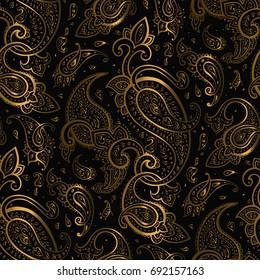 Paisley Beautiful golden seamless background. Elegant Hand Drawn vintage Pattern