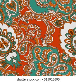 Paisley blue palette.Seamless ethnic pattern. Oriental traditional pattern.A template for a print fabric, wrapping paper, textiles.Limited Palette