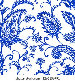 Paisley blue seamless pattern on a white background, vector illustration, hand drawing. East ornament, buta.