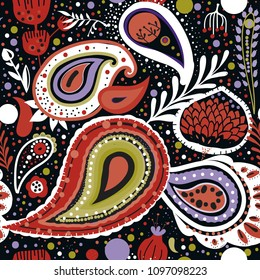 "Paisley. A bright seamless pattern based on the traditional oriental ornament ""Buta"" (teardrop-shaped motif with a curved upper end)"