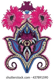 Paisley chrysanthemum vector design