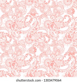 Paisley Damask ornament. Seamless kalamkari Vector pattern