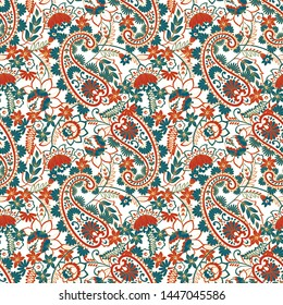 Paisley Damask ornament. Seamless Vector pattern
