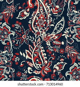 Paisley ethnic flowers seamless vector pattern. floral vintage background