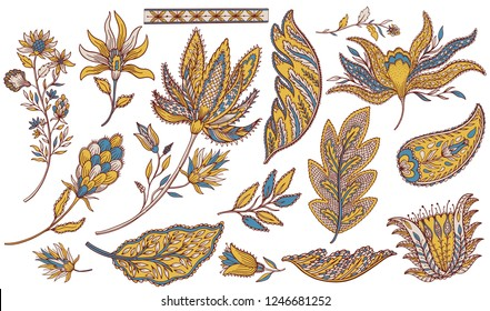 Paisley ethnic set. Indian element decoration. Oriental east hand drawn collection. Vintage folk style. Vector illustration.