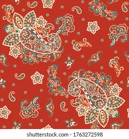 Paisley Floral oriental ethnic Pattern. Seamless Vector Ornament. Damask fabric patterns.