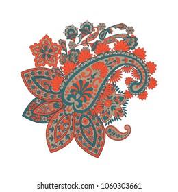 paisley floral pattern. damask vector Illustration
