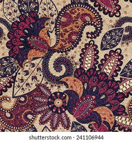 Paisley floral seamless pattern with decorative flowers