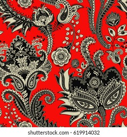 Paisley floral seamless pattern. Indian ornament. Vector decorative flowers. Ethnic style. Design for fabrics