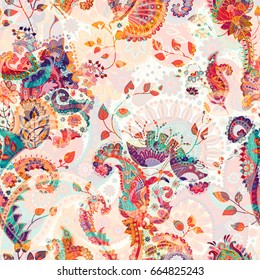 Paisley floral seamless pattern. Indian ornament. Vector decorative flowers and Paisley. Ethnic style. Design for fabrics, cards, web, decoupage