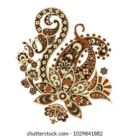 paisley flower pattern in damask style, indian  floral design, vector illustration