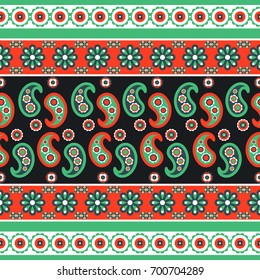 Paisley flower pattern seamless row vector. Green and red indian ethnic floral texture for textile, fabric print and clothes.