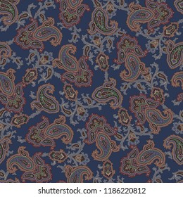 Paisley illustration pattern, This painting continues repeatedly seamlessly.