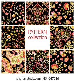 Paisley Indian or turkish persian seamless pattern set. Watercolor style. Handdrawn eastern ornament collection. Vector Illustration.