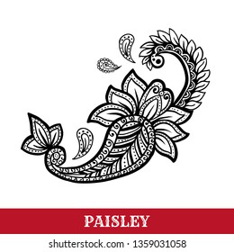 Paisley motif hand drawn isolated vector tattoo illustration. Buta ink pen isolated clipart. Persian ornate sketch drawing. Monochrome boteh curl. Greeting card, textile ornamental design element