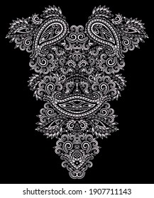 Paisley -neckline ethnic design. Floral black and white lace pattern. Vector print with decorative elements for embroidery, for women's clothing.