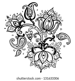 Paisley ornament.  Lotus flower. Vector illustration isolated.