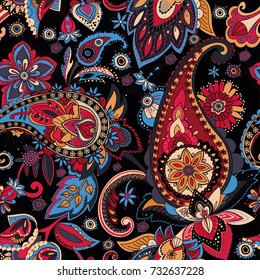 "Paisley. A pattern based on the traditional textile figure ""Turkish cucumber"" or ""Paisley"". Vintage style."