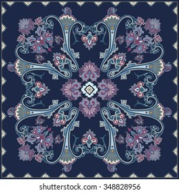 Paisley pattern, colour scarf design. For textile, wrapping, pillow