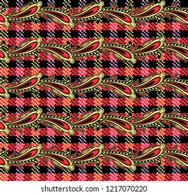 Paisley pattern floral traditional ornaments ethnic background seamless. beautiful folk ornaments decorative artistic work.